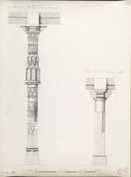 Ahmadabad: Pillar in Haibat Khan's mosque (left), Pillar in Mata Bhavani's well (right)